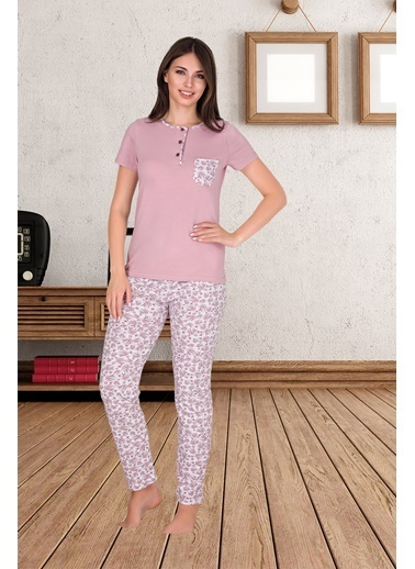 Sensu Kadın Kısa Kollu Cepli Pijama Takımı Renkli